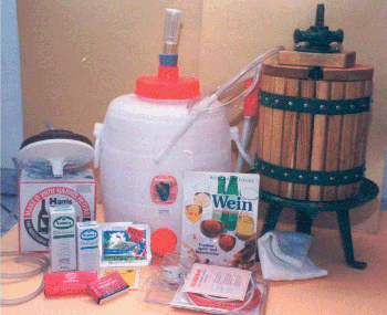 Hobby winemaker set with wine press