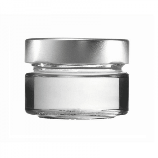 CONSERVATIVE GLASS - FACTUM 75 ml with lid silver