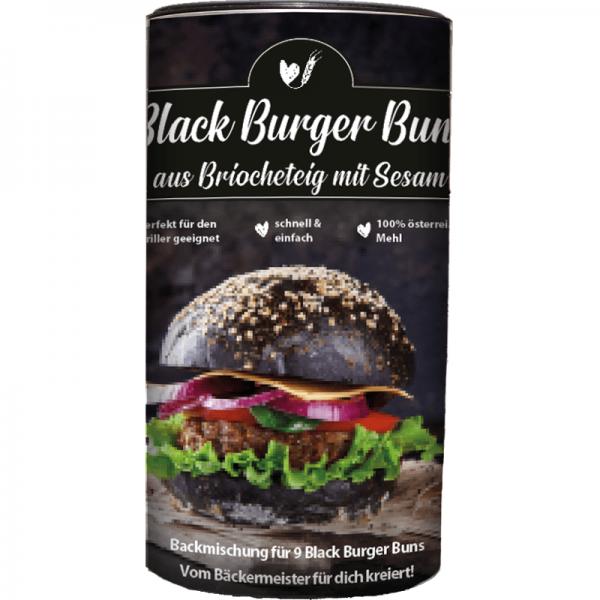 BACKMISCHUNG BLACK BURGER BUNS mit Sesam