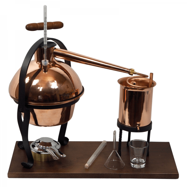 MINI-DESTILLER Nr. 3, Kupfer/Holz, mit Thermometer