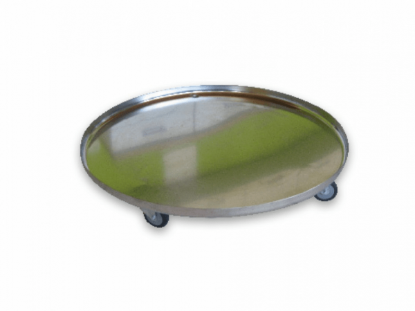 Stainless steel tray on castors for 500-litre BM