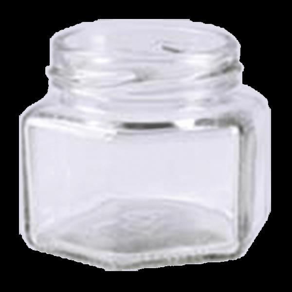 Konservenglas 6-eckig, 106ml, TO Deckel 53 mm